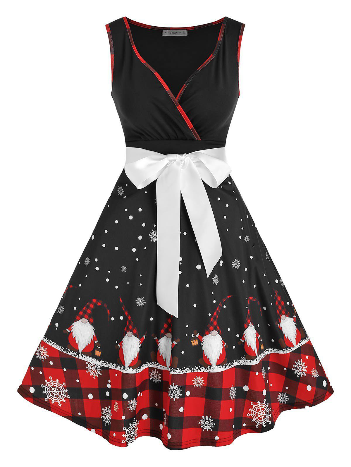 Latest Santa Claus Snowflake Print Christmas Dress