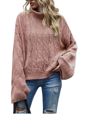 Cable Knit Pointelle Knit Roll Neck Sweater