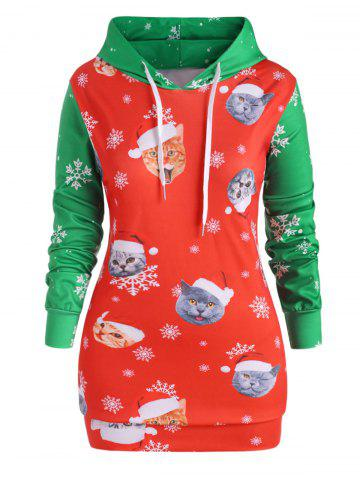 Plus Size Christmas Printed Two Tone Hoodie - RED - 5X