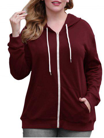Drawstring Zip Up Pockets Plus Size Hoodie - DEEP RED - 3XL