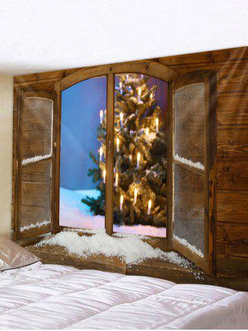 Christmas Tree Window Print Waterproof Tapestry Wall Hanging Art Decoration