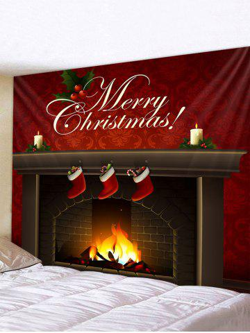 Christmas Fireplace Greeting Print Tapestry Wall Hanging Art Decoration - MULTI - W59 X L51 INCH