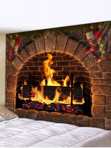 Christmas Fireplace Stockings Print Tapestry Wall Hanging Art Decoration
