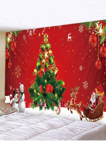Snowman Christmas Tree Printed Waterproof Tapestry - MULTI - W91 X L71 INCH