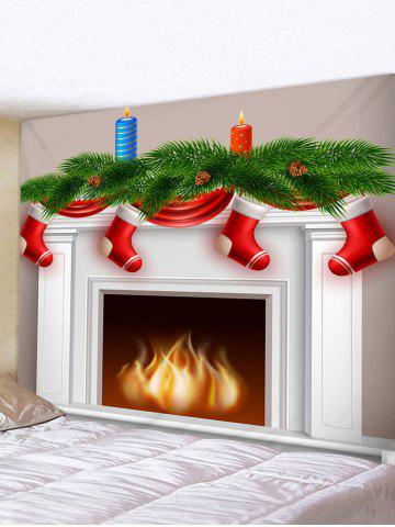 Christmas Fireplace Stocking Print Tapestry Wall Hanging Art Decoration