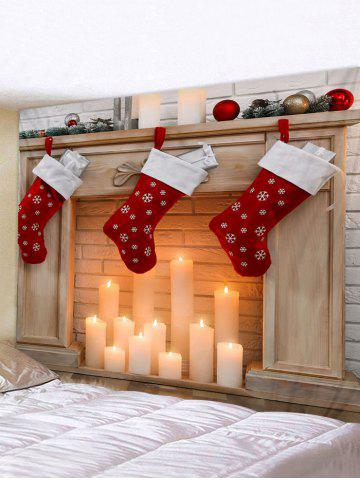 Christmas Stockings Candle Print Waterproof Tapestry Wall Hanging Art Decoration - MULTI - W91 X L71 INCH