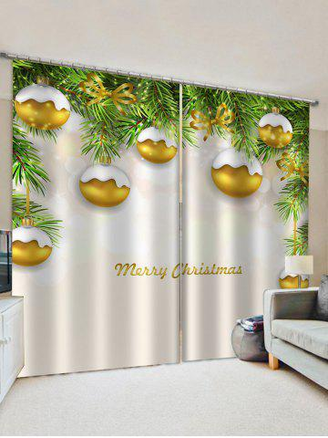 2 Panels Tree Branch Christmas Balls Print Window Curtains