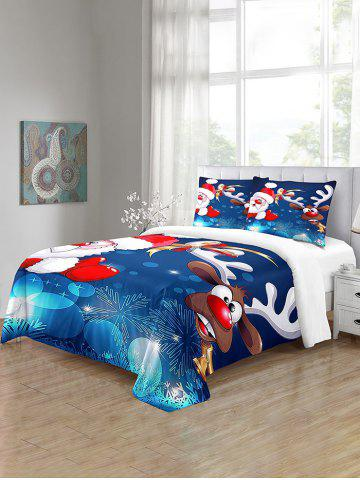 Santa Claus Elk Christmas Pattern 3PCS Bedding Set - MULTI - QUEEN SIZE