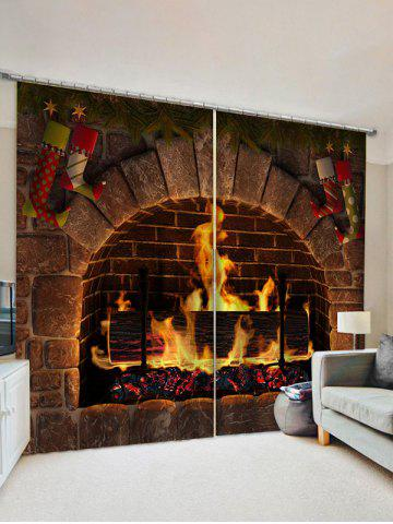 2 Panels Christmas Fireplace Stockings Print Curtains