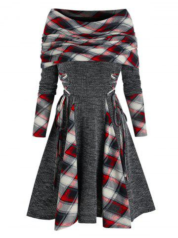 Plaid Print Lace-up Convertible Flare Dress