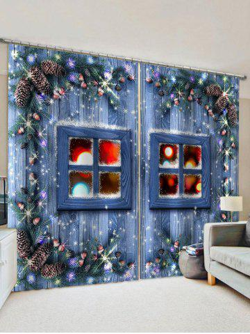 2 Panels 3D Christmas Window Print Window Curtains