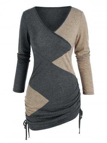 ColorBlock Patchwork TRABAJO CINCHED T-SHIRT - MULTI-A - 2XL