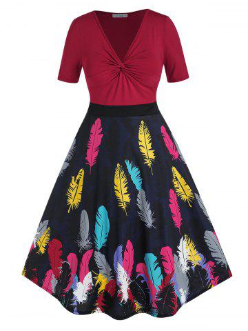 Plus Size Feather Print Twisted High Rise Midi Dress