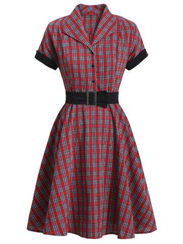 Mock Button Plaid Belted Rolled Sleeve Dress - RED - 2XL