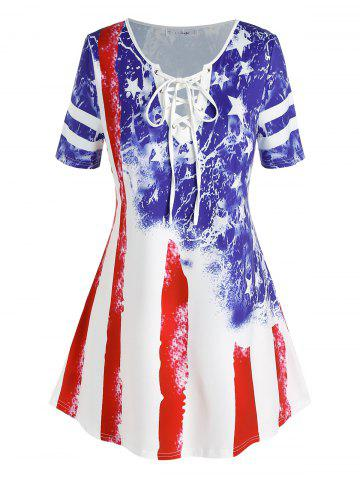 Plus Size American Flag Star Lace-up Short Sleeve T-shirt - MULTI - 1X