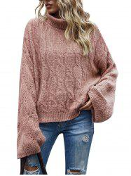 Cable Knit Pointelle Knit Roll Neck Sweater -