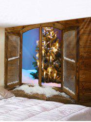 Christmas Tree Window Print Waterproof Tapestry Wall Hanging Art Decoration -