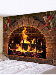 Christmas Fireplace Stockings Print Tapestry Wall Hanging Art Decoration -