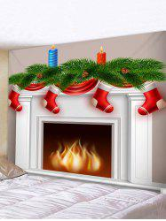 Christmas Fireplace Stocking Print Tapestry Wall Hanging Art Decoration -