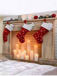 Christmas Stockings Candle Print Waterproof Tapestry Wall Hanging Art Decoration -