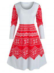 Plus Size Christmas Snowflake Print Midi Night Dress -