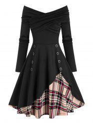 Ruched Off The Shoulder Plaid Panel Dress -