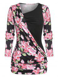 Plus Size Skew Neck Ruched Floral Print T Shirt -