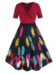 Plus Size Feather Print Twisted High Rise Midi Dress -