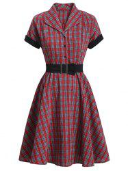 Mock Button Plaid Belted Rolled Sleeve Dress -