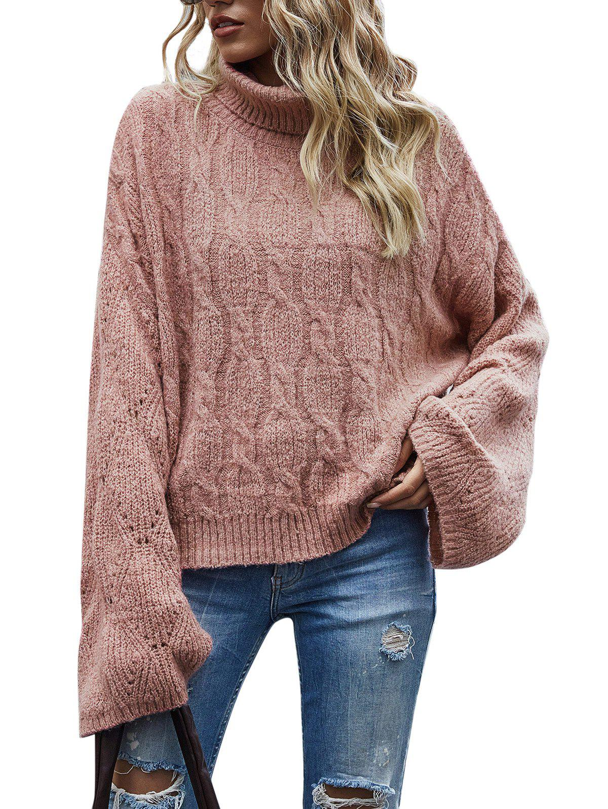 Cheap Cable Knit Pointelle Knit Roll Neck Sweater