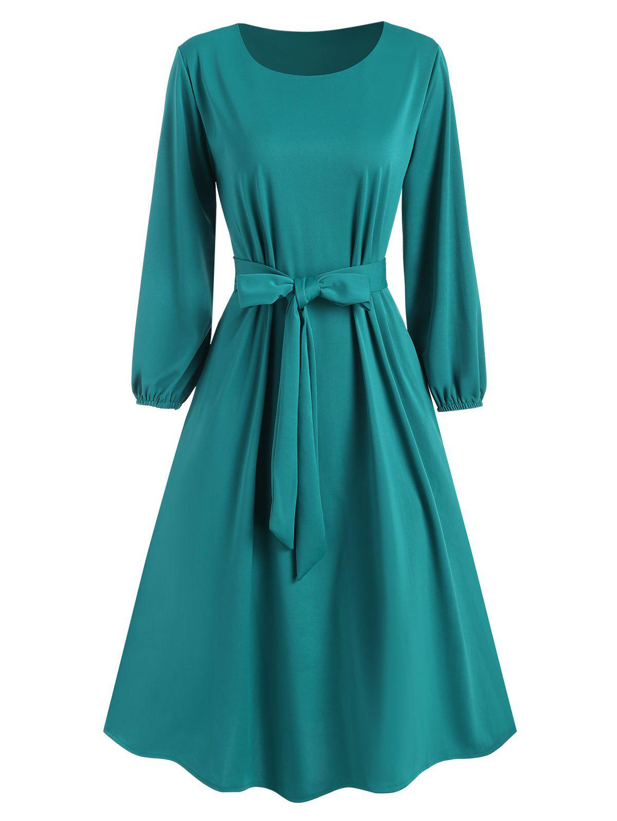 Unique Pocket Belted Midi Dress