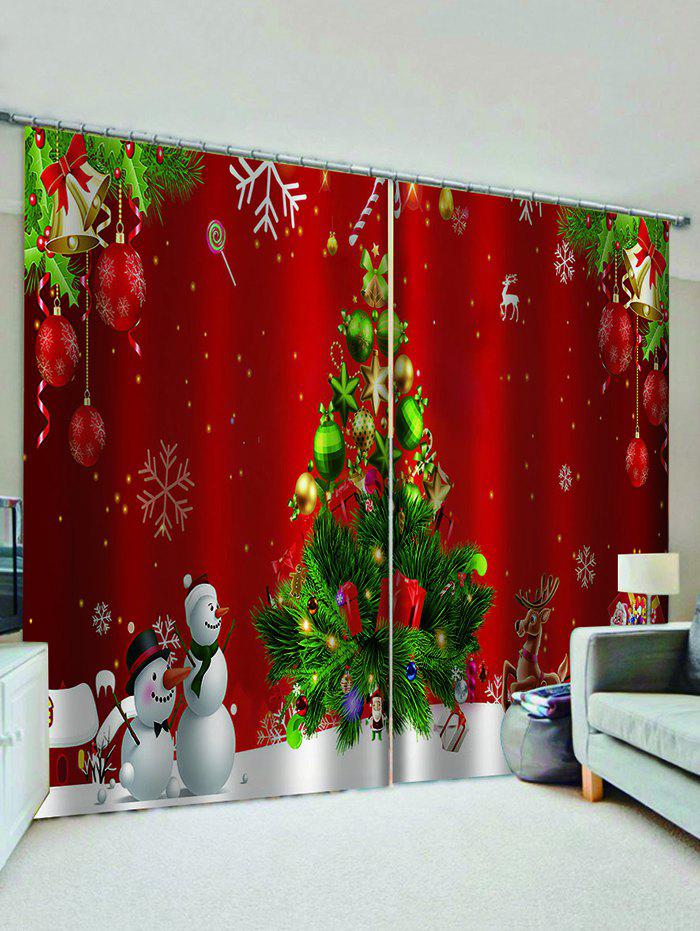 Store 2 Panels Christmas Tree Snowman Print Window Curtains