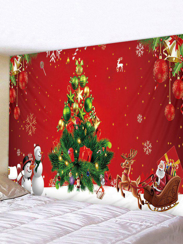 Trendy Snowman Christmas Tree Printed Waterproof Tapestry
