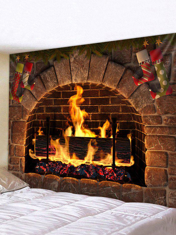 Shops Christmas Fireplace Stockings Print Tapestry Wall Hanging Art Decoration
