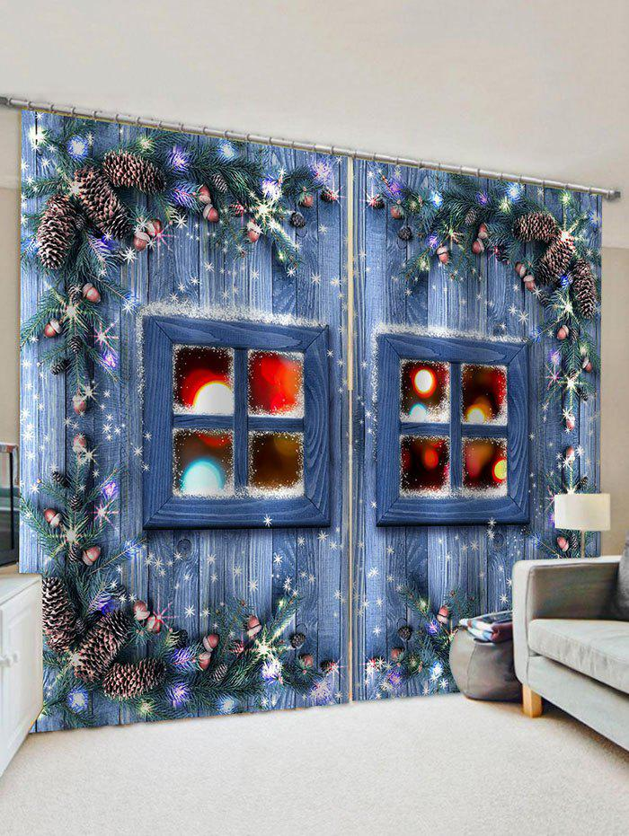 Outfit 2 Panels 3D Christmas Window Print Window Curtains