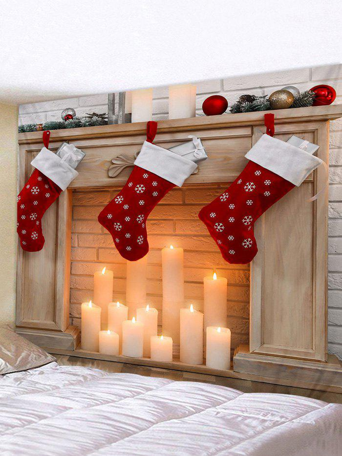 Best Christmas Stockings Candle Print Waterproof Tapestry Wall Hanging Art Decoration