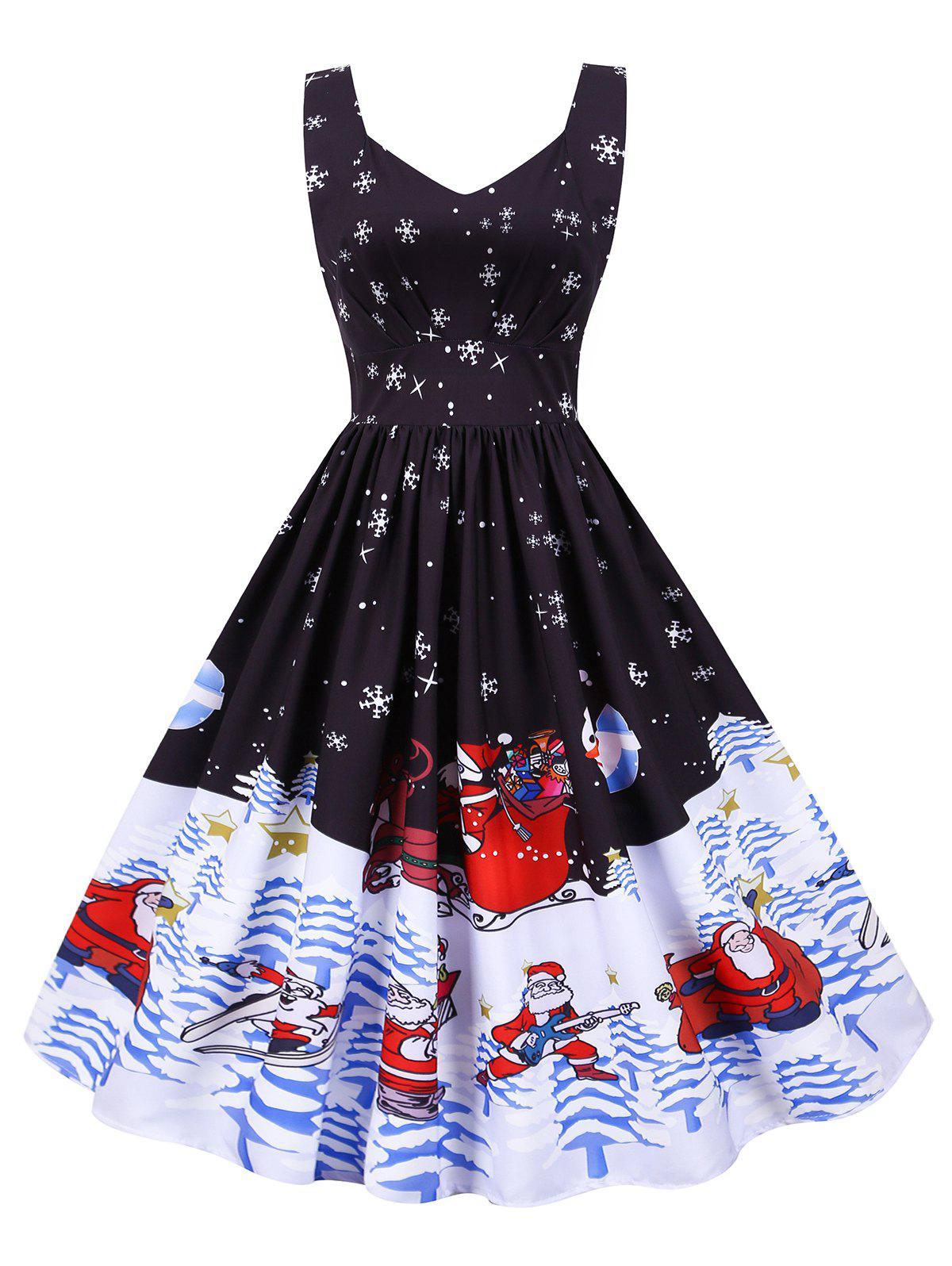 Store Christmas Santa Claus Snowflake High Waisted Dress