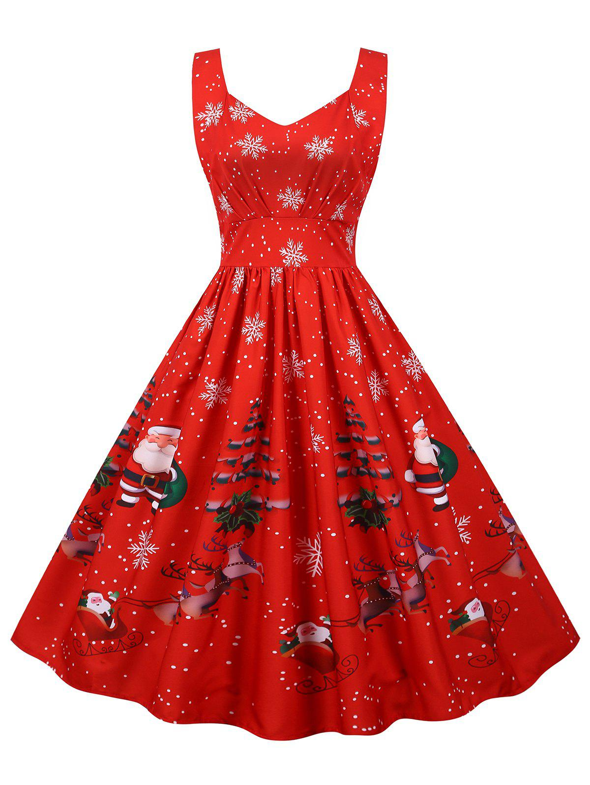 Affordable Christmas Santa Claus Snowflake High Waisted Dress
