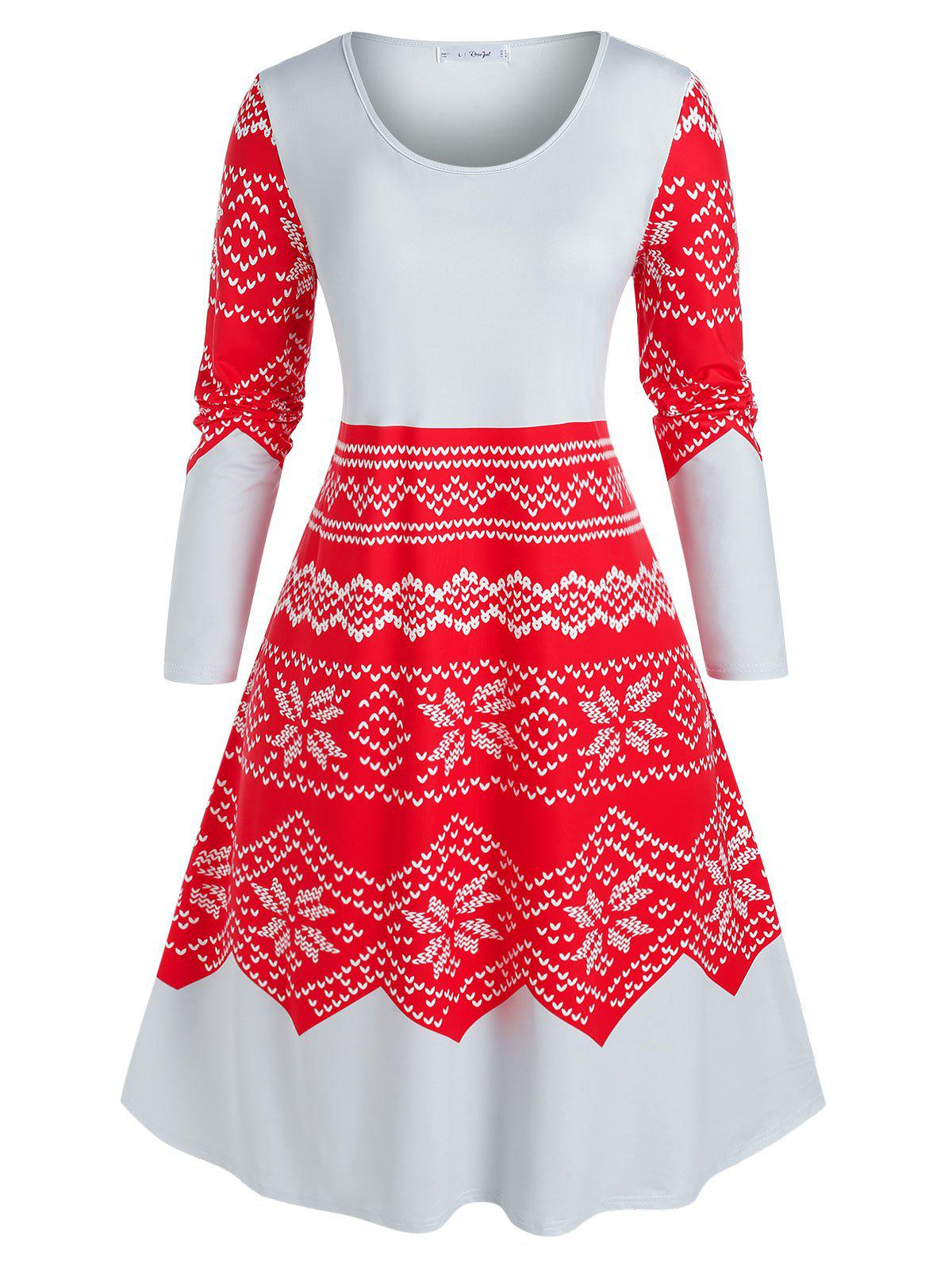 Latest Plus Size Christmas Snowflake Print Midi Night Dress