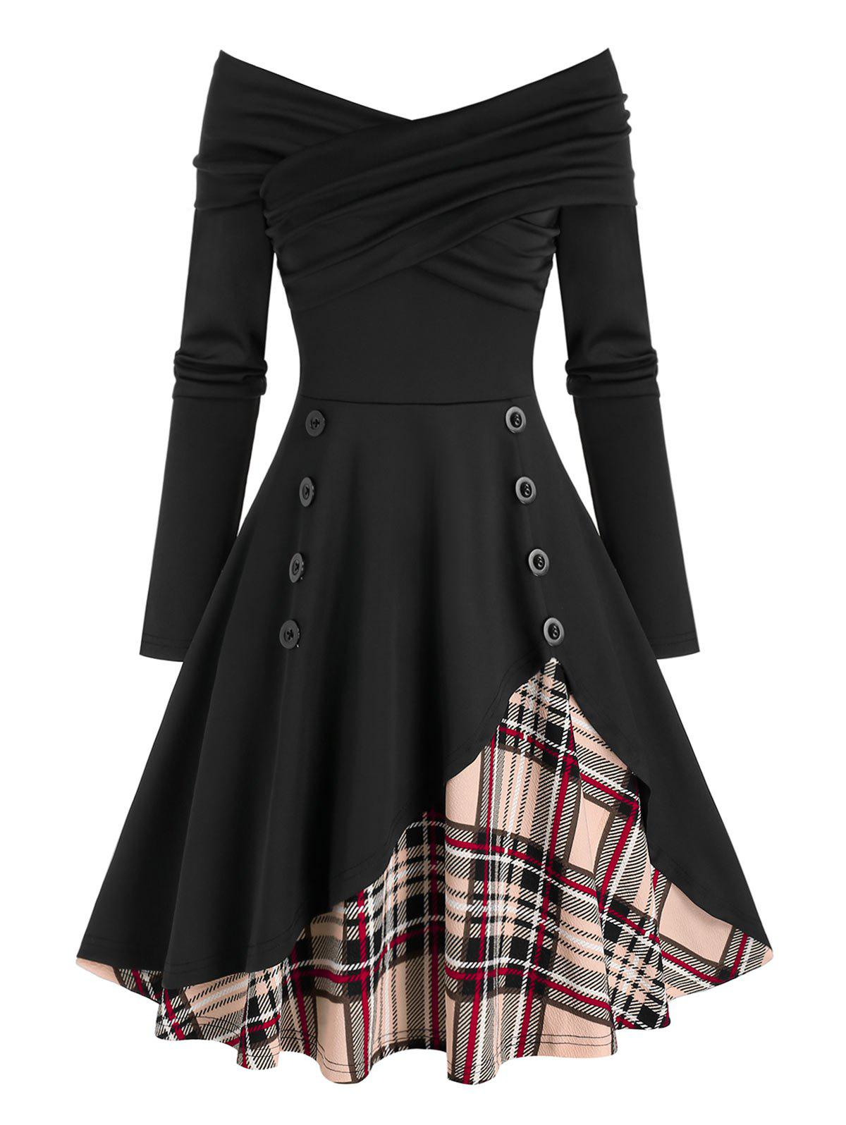 Affordable Ruched Off The Shoulder Plaid Panel Dress