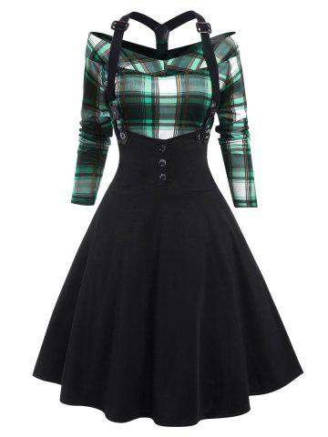 Plaid Knee Length Suspender Skirt Set - MACAW BLUE GREEN - XL