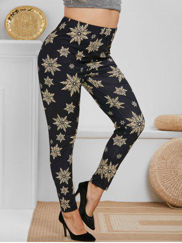 Plus Size Christmas Snowflake Print Pants