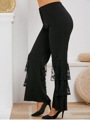 Plus Size High Waist Layered Lace Flare Pants - BLACK - L