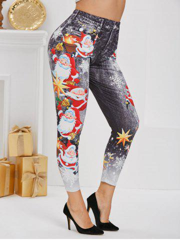 Plus Size Christmas Santa Claus Snowflake 3D Print Jeggings - BLACK - 5X