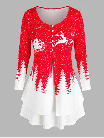 Plus Size Christmas Snowflake Tree Print Layered T Shirt - RED - 5X