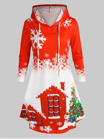 Plus Size Christmas Snowflake Snowman Hoodie Dress