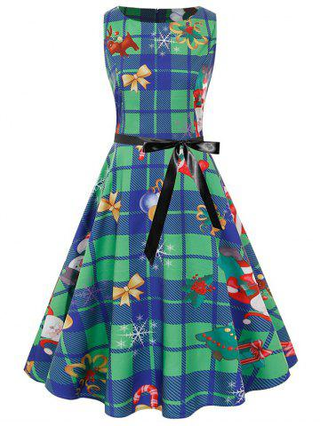 Plus Size Vintage Christmas Print Plaid Pin Up Dress