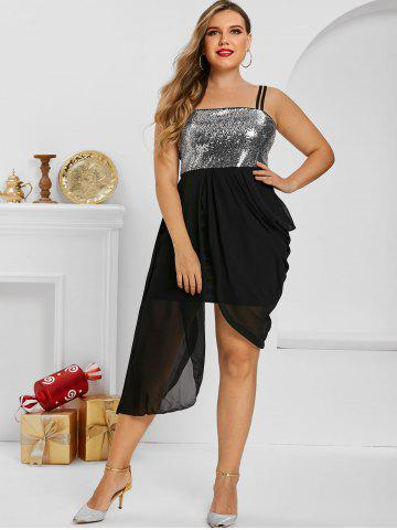 Plus Size Uneven Hem Sequined Draped Ruched Cami Dress