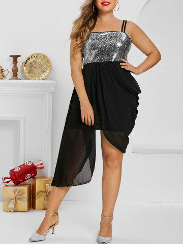 Plus Size Uneven Hem Sequined Draped Ruched Cami Dress - BLACK - 5X