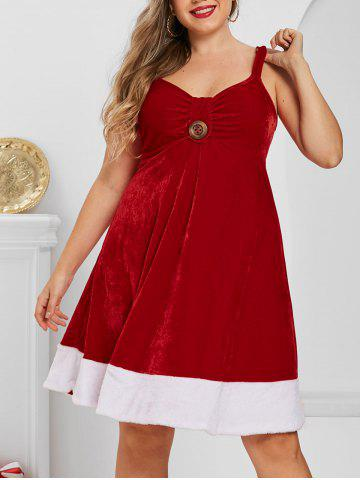 Plus Size Two Tone Velvet Backless A Line Christmas Dress - RED - 3X